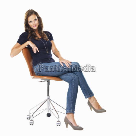studio shot of young relaxed woman