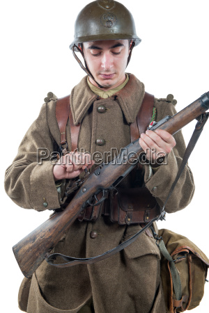 french soldier 1940 isolated on the