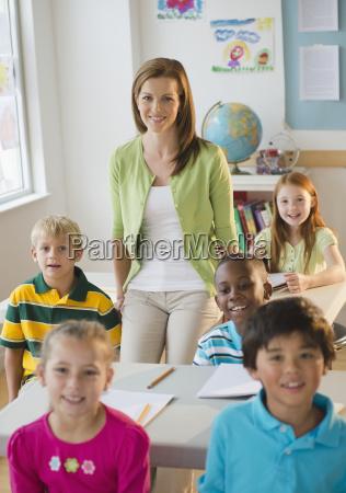 school children 8 9 with female