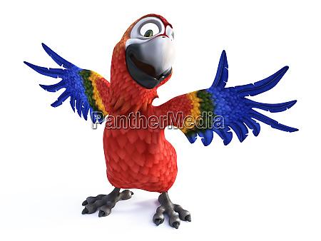 3d darstellung von cartoon papagei laechelnd