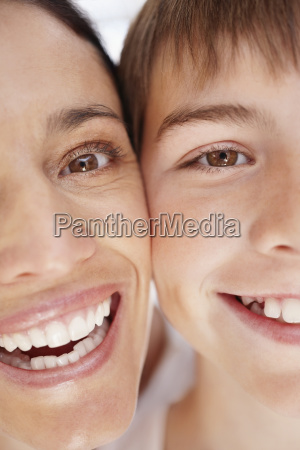 portrait of smiling mother and son