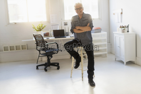 small business owner in his office