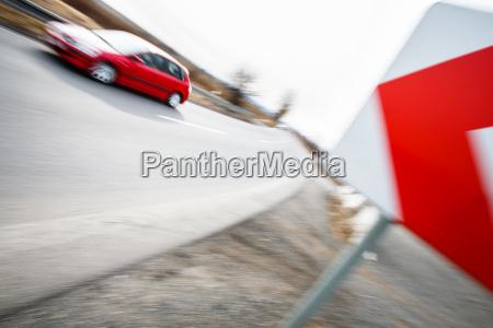 traffic concept car driving fast through