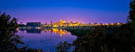city of mantova skyline evening panoramic