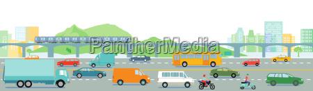 autobahn mit grossstadt illustration