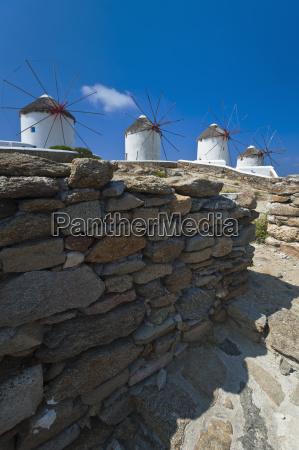 greece cyclades islands mykonos stone wall