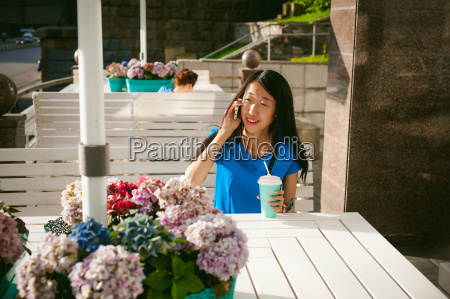 cute asian young woman in summer