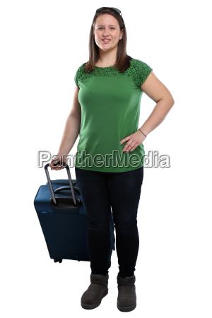vacation young woman traveling with suitcase