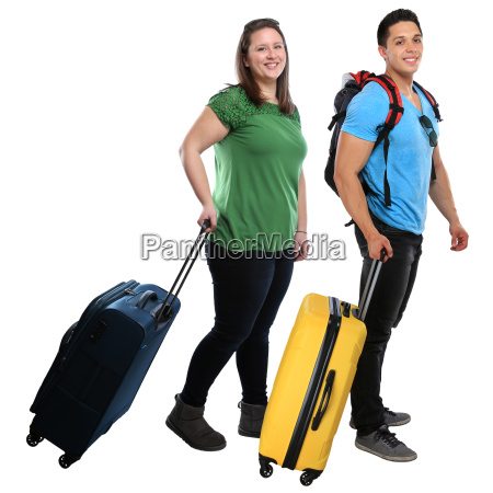 young people people pull suitcase travel