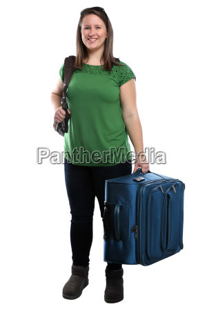 young travel woman traveling with suitcase