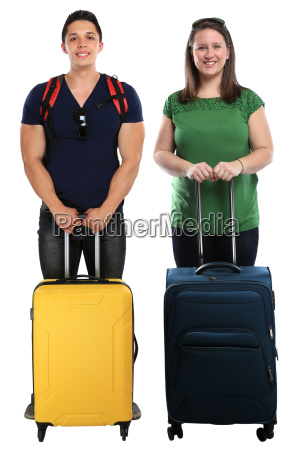 vacation young people people with suitcases