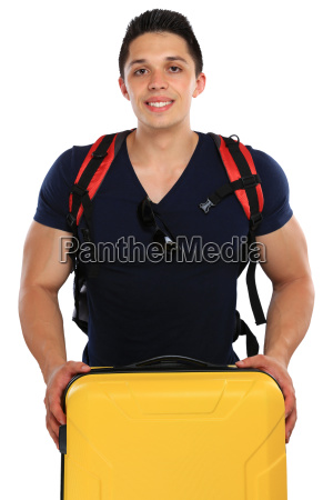 young man traveling with suitcases traveling