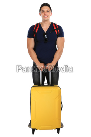 vacation young man with suitcase travel