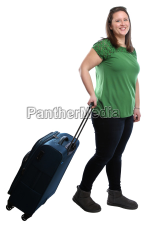young woman pulls suitcase travel travel