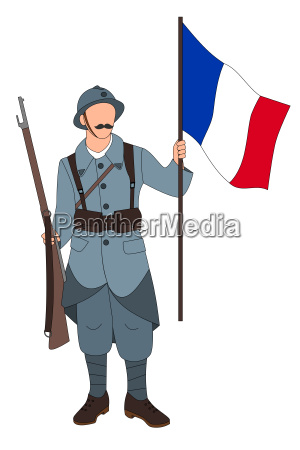 french soldier 1914 1918 isolated on