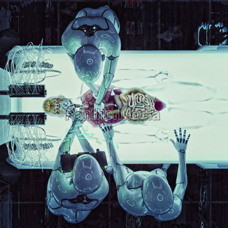roboter die auf organen von transparentem