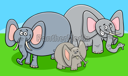 funny elephants cartoon character group