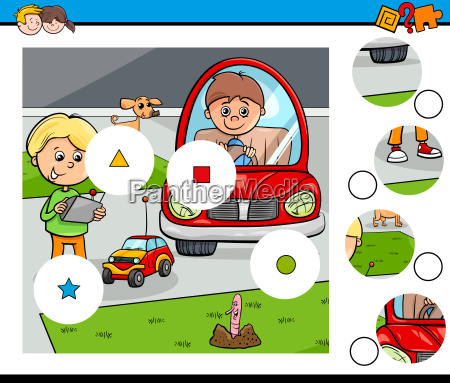 match pieces puzzle with kid boys