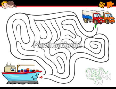cartoon maze activity with ship and