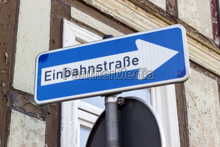 road sign with german text one