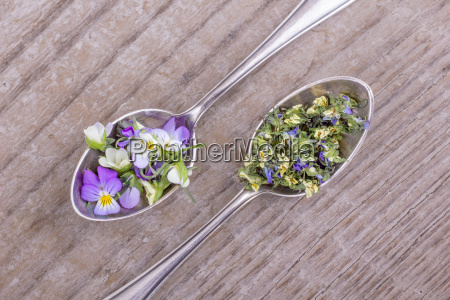 top view on two silver teaspoons