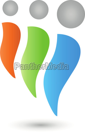 three peopleteam and people logo