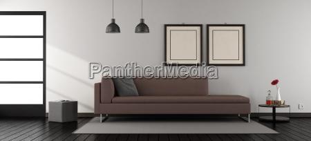 minimalistisches wohnzimmer mit sofa