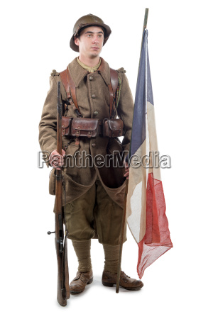 french soldier 1940 isolated on white