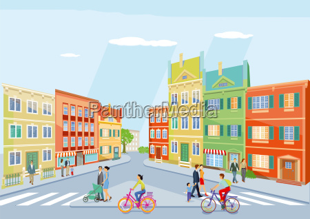 small city with pedestrians and cycling
