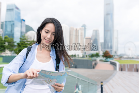 travel woman visit hong kong and