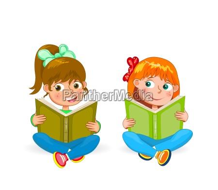 zwei kleine glueckliche maedchen lesen buecher