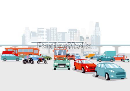 grossstadt mit autos verkehrs illustration