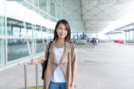young asian woman go travel