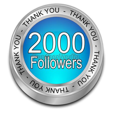 blue 2000 followers thank you button