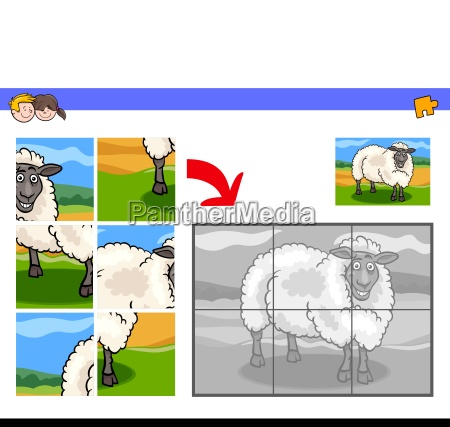 jigsaw puzzles with sheep animal character