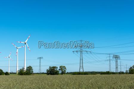 power lines in wind turbines on