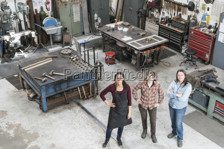 high angle view of three women
