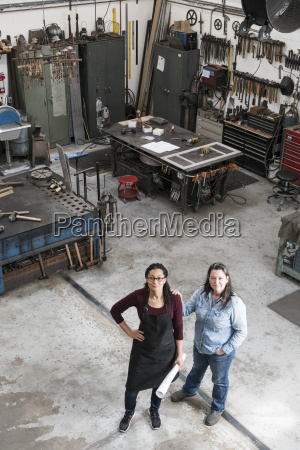 high angle view of two women