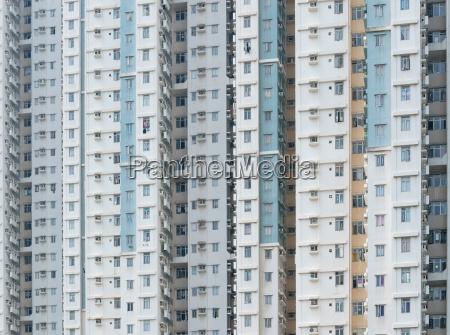 wolkenkratzer der gebaeudefassade des oeffentlichen wohnungsbaus