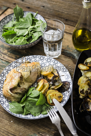 roasted chicken with potatoes and basil