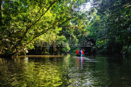 costa rica tortuguero tourists canoeing through