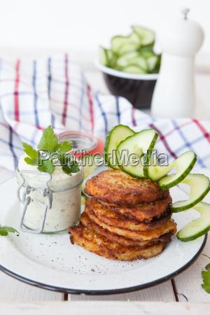 fresh potato pancakes with cottage cheese