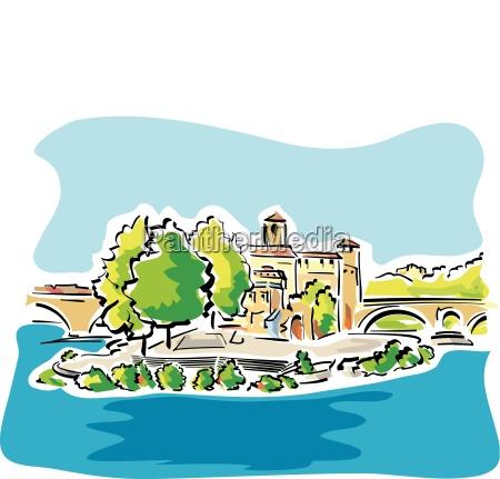 vektorillustration von tiber island in rom