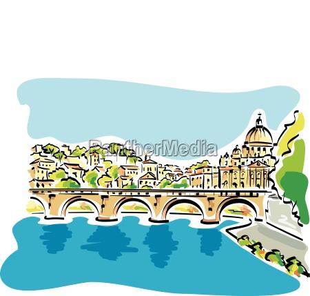 vector illustration von rom panoramamit dem