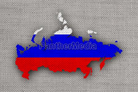 karte und fahne von russland auf