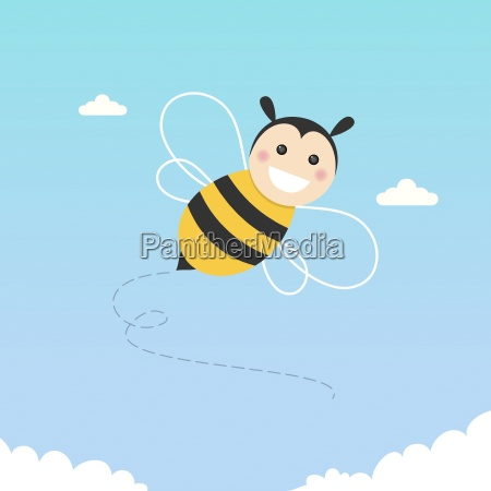 glueckliche biene fliegt auf blauem himmel