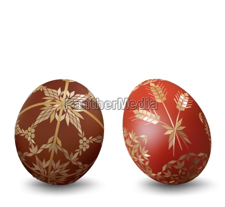 two easter eggs with ornamental pattern