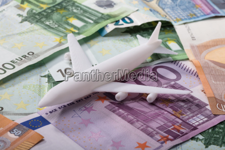 airplane on euro banknotes