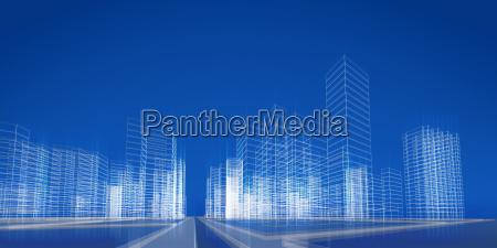 abstract city scene 3d rendering