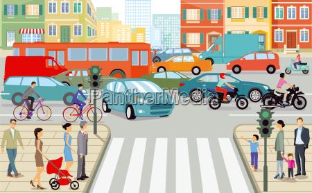 road traffic in the cityillustration